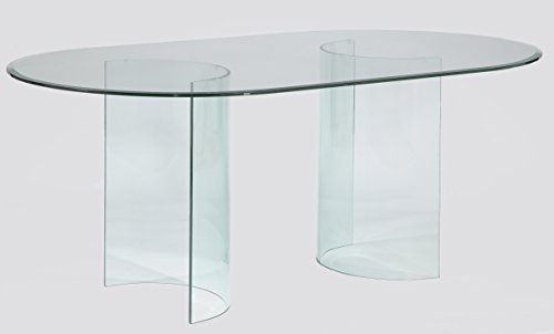 Milan Camden-DT-4272 Camden Racetrack Oval Glass Dining Table with Beveled Edge (Glass Dining Oval Top Table)