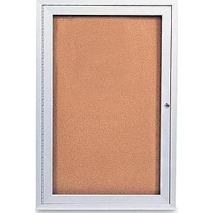 Illuminated Cork Board - Industrial locking anodized satin Aluminum 1-door indoor ILLUMINATED Corkboard - 24x36
