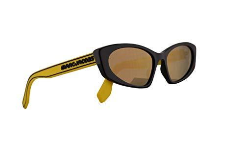 Marc Jacobs Marc 356/S Sunglasses Black w/Yellow Rubber Temples & Grey Bronze Mirror Lens 54mm 40GJO Marc 356S Marc356S Marc356/s ()