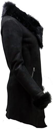 Frauen Schwarz Wildleder Merino Schaffell Leder Mantel Mit Toscana Kragen