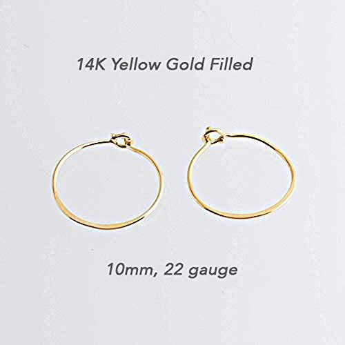 (Extra Thin Hoop Cartilage 14K Gold Filled Tragus Handmade Hammered GF-CL-R-HAM-D10MM-22GA )