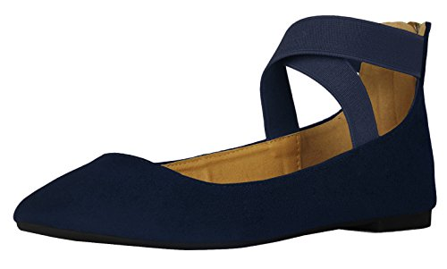 Blue Womens Flat - Cambridge Select Women's Closed Round Toe Stretch Elastic Crisscross Ankle Strappy Ballet Flat (7 B(M) US, Navy)