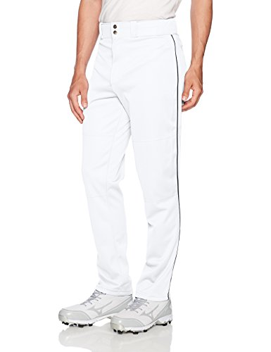 (Wilson Men's Classic Relaxed Fit Piped Baseball Pant, White/Navy, Large)