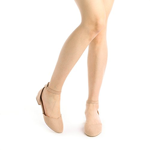DREAM PAIRS Women's Sole_Vogue Nude Fashion Low Stacked Ankle Straps Flats Shoes Size 8 M US by DREAM PAIRS (Image #5)