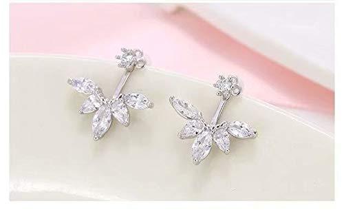 Boucles d'oreilles en feuille de cristal incrustées de diamants avec boucles d'oreilles hypoallergéniques en zircon SamGreatWorld