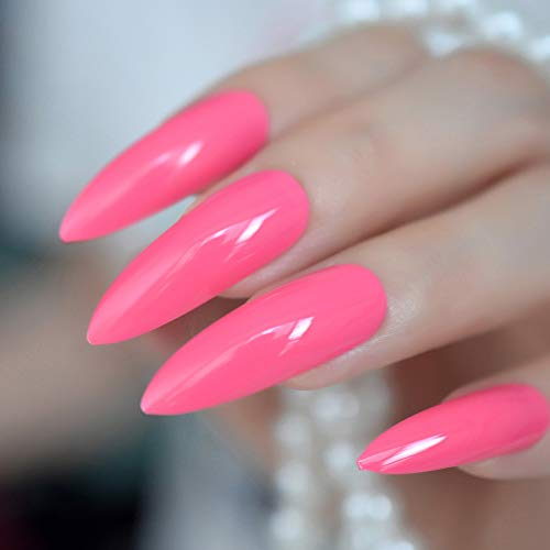 Hot Pink Extra Long False Nails Stiletto Tips Oval Sharp End Stilettos Fake Nail Rose Red UV Gel Manicure Artificial Nails Salon Z933 -