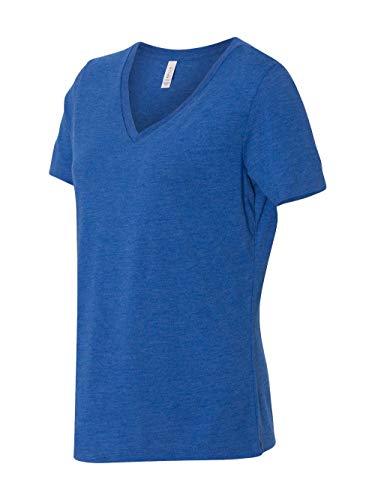 Bella + Canvas Women's Relaxed Jersey Short Sleeve V-Neck Tee, True Royal Triblend, Small (Belle Baseball Jersey)