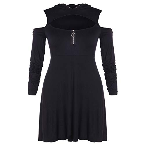 HYIRI✈Special Solid Beading Hooded,Women's Plus Size Cold Shoulder Hollow Out Short Draped Dress
