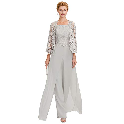 TS Pantsuit Straps Floor Length Chiffon Corded Lace Split Front Mother of The Bride Dress with Appliques Champagne