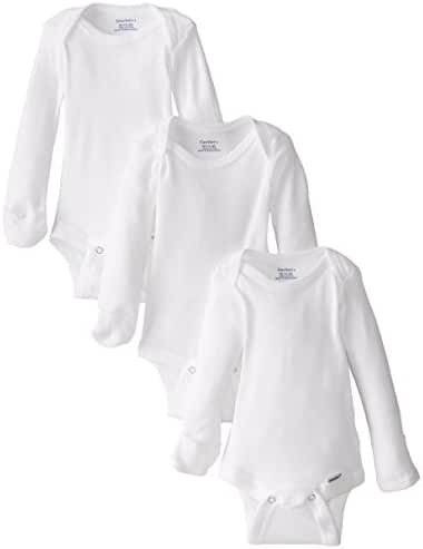 Gerber Unisex Baby 3 Pack Long-Sleeve Onesies with Mitten Cuffs