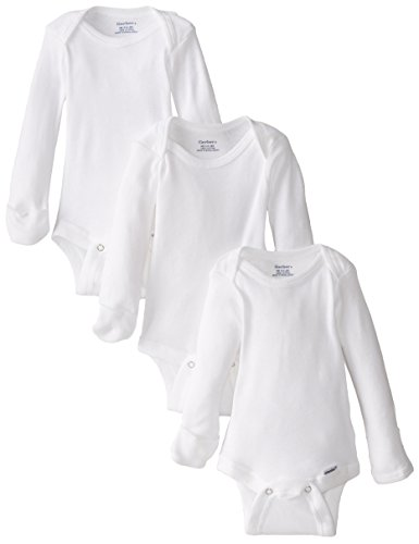 Gerber Unisex-Baby Newborn 3 Pack Longsleeve Mitten Cuff Onesies Brand, White, 0-3 Months Long Sleeve Baby Onesies