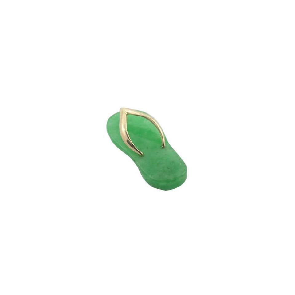 Green Jade Flip Flop Simple Strap Sandal, 14k Gold Jewelry