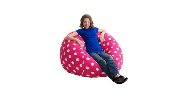 Amazon Large 4 Fuf Bean Bag Chair PINK And White Polka Dots HOT NEW COLOR Kitchen Dining