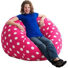 Amazon Com Large 4 Fuf Bean Bag Chair Pink And White