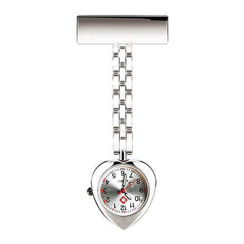 (WIOR Lapel Pin Nurse Watch Paramedic Doctor Brooch Pocket Watch Quartz Movement Nurses Watch Fob Clip on Hanging Watch (Silver))
