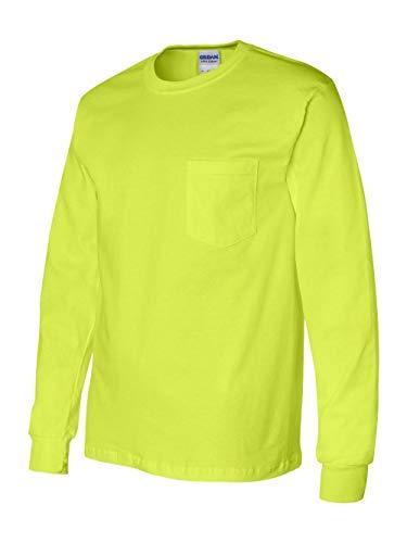 Gildan Ultra Cotton 6 oz. Long-Sleeve Pocket T-Shirt (G241)- SAFETY GREEN,L