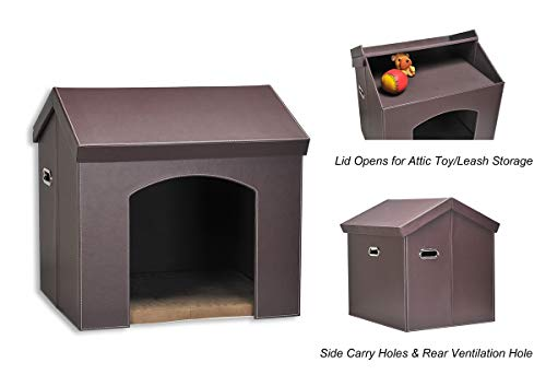 PAWLAND Collapsible Leather Pet Haven Indoor Cat Dog House for Small Dogs,Cats, Folding Dog House with Toys Storage and…
