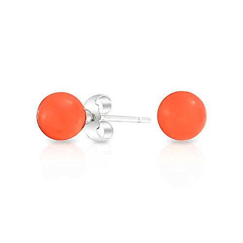 Round Dyed Orange Stud earrings 925 Sterling Silver 6mm (Round Orange Coral Earrings)