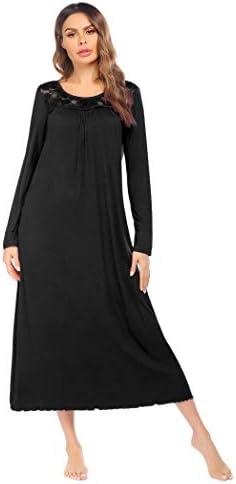 Ekouaer Women's Long Nightgown Full Length Sleeve Sleepwear Pleated Scoopneck Nightshirt Lace Trim Pajama Dress S-XXL