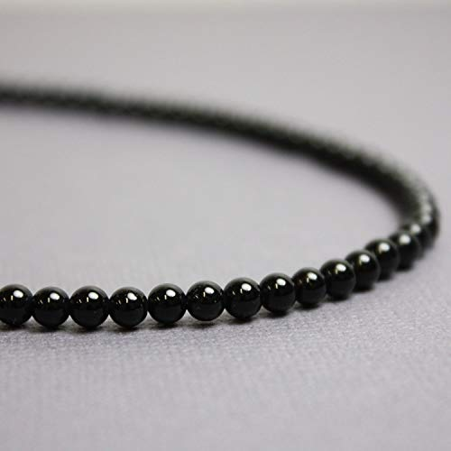 (Black Onyx Necklace-4mm Beads-Sterling Silver Clasp-14