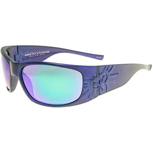 Black Flys Sonic 2 Floating Polarized Shield Sunglasses, Matte Blue, 65 mm
