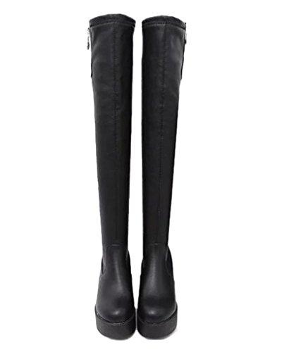 Minetom Mujer Botas De Invierno Botas Hasta La Rodilla Zapatos de Flatform Calentar Botas De Nieve Cremallera Cerrada Negro