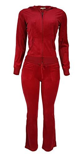 (Women's Lightweight Hoodie & Sweatpants Velour Suit 2 Piece Loungewear Set (S-3XL) Large Red)