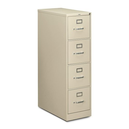 """HON 210 Series Locking Vertical Filing Cabinet - 15"""" x 28.5"""" x 52"""" - Metal - 4 - Letter - Security Lock, Rust Resistant - Putty"""
