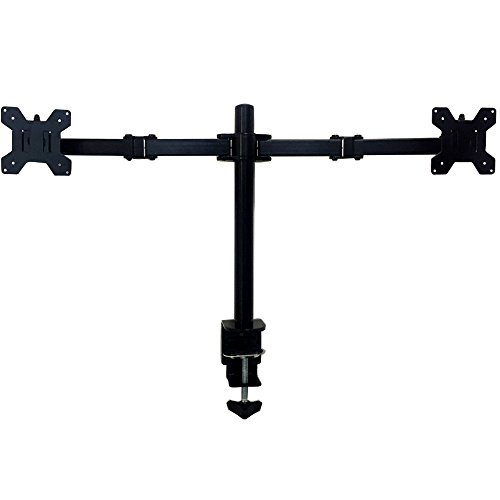Dual Monitor Mount Desk Stand Fully Adjustable Fits Two Screens up to 27″, Full Motion, Tilt, Swivel, Rotate, 18 lbs Capacity, Clamp monitor Mount For L shaped Desk