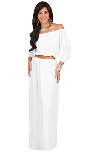 KOH KOH Plus Size Womens Long Sleeve Off Shoulder Cocktail Belted Sexy Gowns Maxi Dress, Color Ivory White, Size 2X Large / XXL / 18-20
