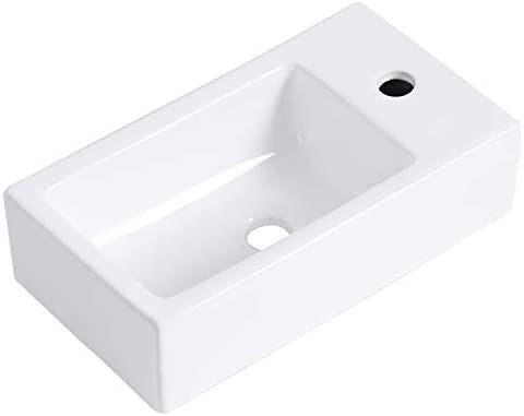 HOROW Bathroom Small Wall Mount Rectangle Corner Sink White Porcelain Ceramic Vessel Sink, Right Hand