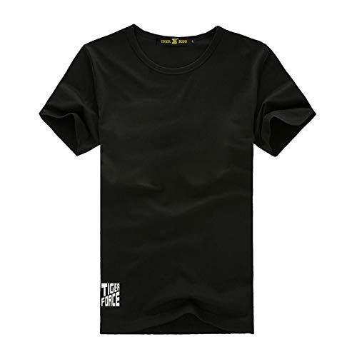 TIGER FORCE Shirts for Men Summer Slim fit Crewneck Short Sleeves Cotton Solid Color Basic Tee Shirt Tops Casual Athletic T-Shirt (Ultra Tiger Force)