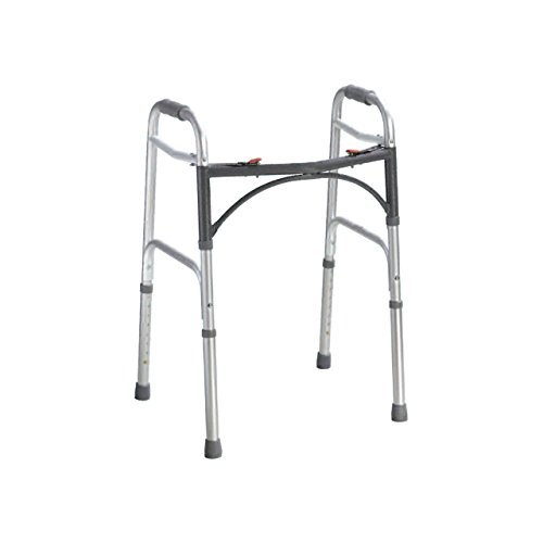 Deluxe Folding Walker - Two Button - Adult - Grey by Drive