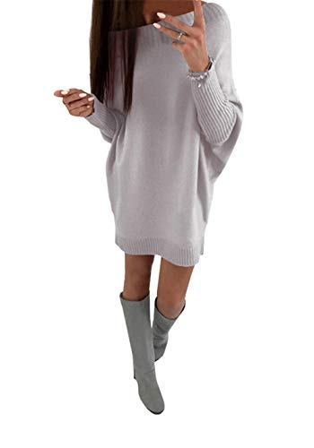er Dresses Oversized Casual Batwing Sleeve Off The Shoulder Loose Knit Solid Tunic Tops ()