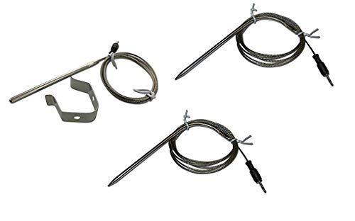 Replacement Temperature Probes for Wireless BBQ/Oven Thermometers - Cappec, iGrill, iGrill2, iGrill3, iGrill Mini, and Thermopro (Ambient and Meat (x2) Probe with Clip)