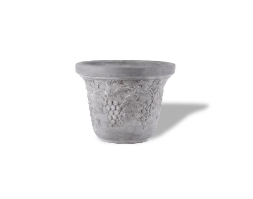 Amedeo Design ResinStone 2510-4G Grape Planter, 18 by 18 by 14-Inch, Lead Gray