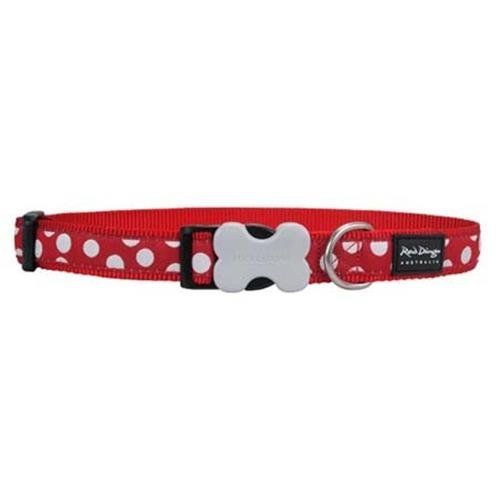 Red Dingo 25mm Red with White Dots Dog Collar, Large
