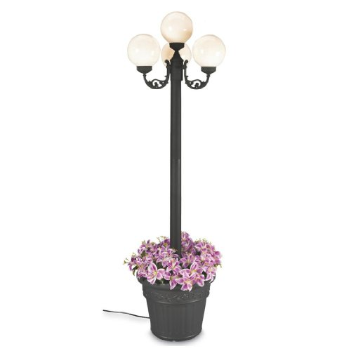 Patio Concepts Living Planter European (European 00390 Patio Lamp Black Body With Four White Globes and Planter 80-inches Tall)