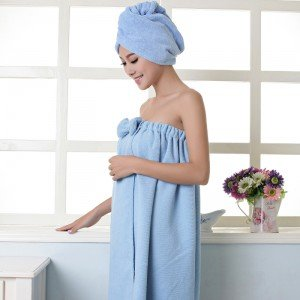 Women's Microfiber Bath Towel Set With Hair Band Bathrobe Home Textile Bathroom Items Gear Stuff Accessories Supplies Blue