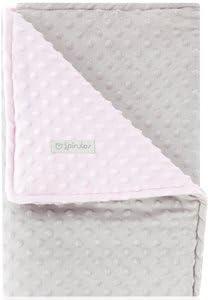 Pirulos 64005134 - Manta doble cara, 80 x 110, diseño dots, color gris/rosa