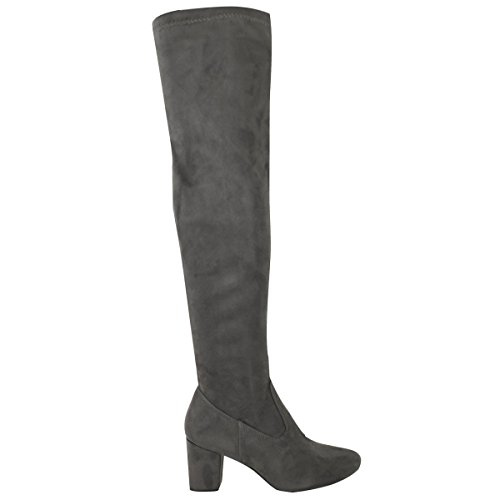 Low Suede The High Stretch Grey Block Over Knee Womens Work Ladies Heels Thigh Size Boots Faux Fashion Thirsty Tq0p8nB