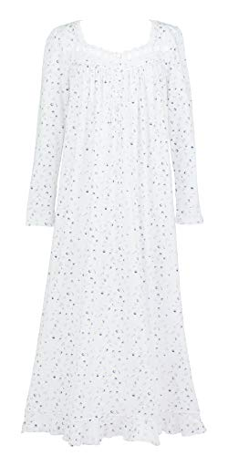 Eileen West Cotton Knit Nightgown - Long Sleeve in Floral Reveal (White/Gray Pink Navy Floral, X-Large) (Flannel Eileen West Gowns)