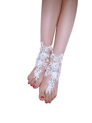 ASA Bridal Summer Crochet Barefoot Sandal Lace Anklets Wedding Prom Party Bangle (IVORY II)