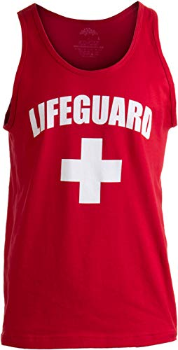 Lifeguard | Red Adult Lifeguarding Uniform Costume Unisex Tank Top Men Women - XL -