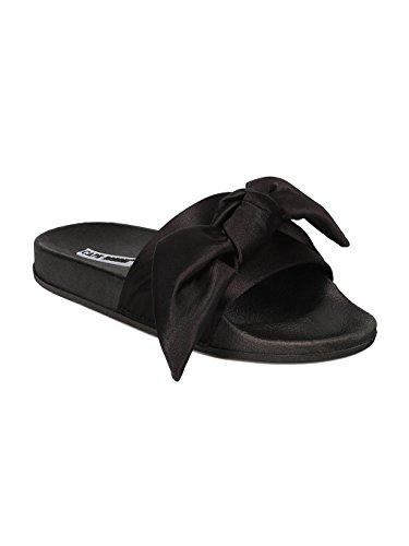 (Cape Robbin Women Satin Open Toe Bow Tie Slip On Flat Sandal GF82 - Black Satin (Size: 6.0))