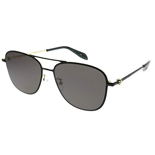 Alexander McQueen AM0187SK 001 Sunglasses Matte Black Gold Frame Grey lens ()