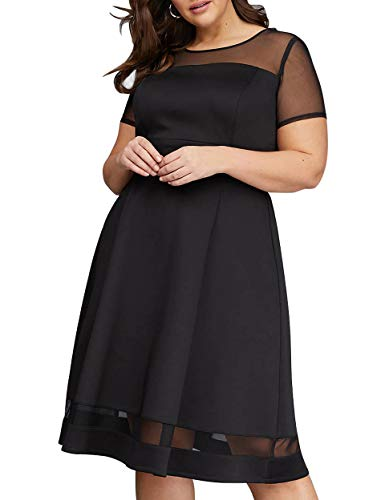 Nemidor Women's Mesh Sleeve Fit and Flare Elegant Plus Size Midi Party Dress (Black, 16W)