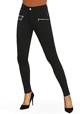 Bamans Women's Super Soft Skinny Stretch 5 Pockets Modern Ponte Knit Leggings w/Zipper Details (Black, Large)
