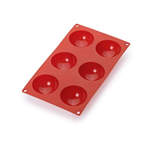 Lekue 6 Cavities Semi-Sphere Multi Cavity Baking Mold, Red
