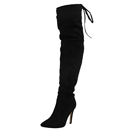 Loud Look Womens Ladies Over The Knee Thigh High Boots Lace up Stiletto Heel Shoes Size 6 7a2yFg6dvz